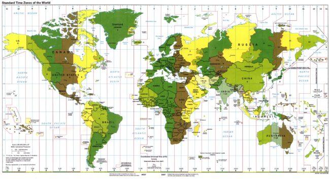 Husos horarios en el Mundo