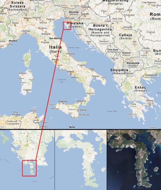 Mapa de Kamenjak (Croacia)