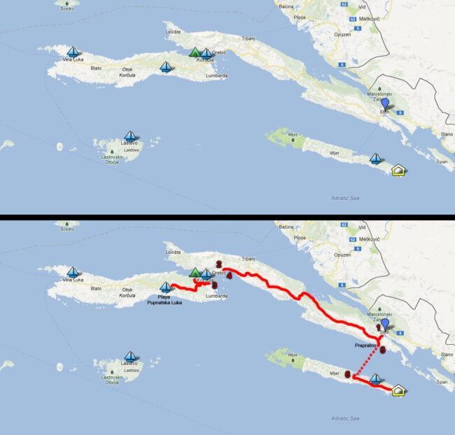 Ruta entre islas (Isla Korcula - Isla Mljet)
