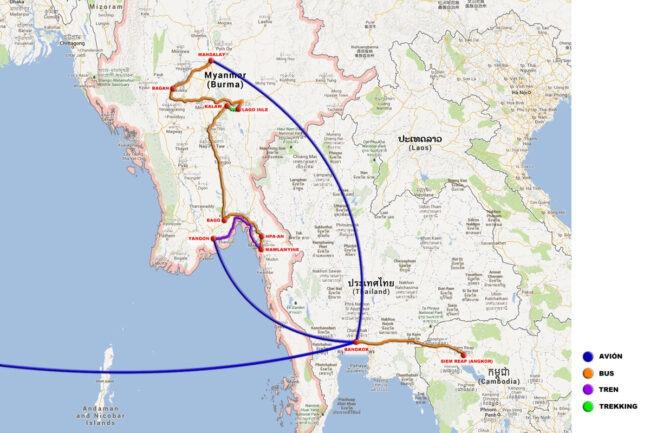 ruta viaje a Myanmar
