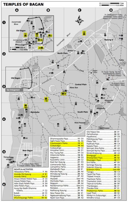 mapa templos bagan