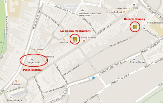 brasov mapa restaurantes