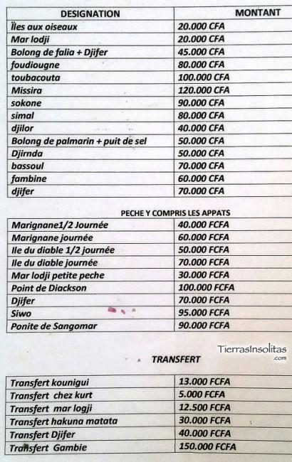 lista precios piragua delta del siné-saloum