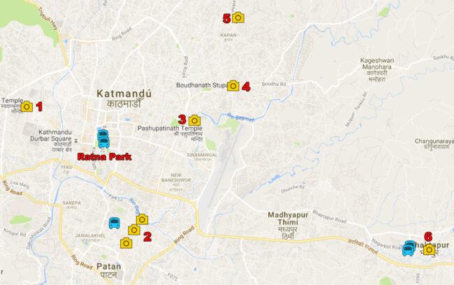 mapa ruta por los alrededores de katmandu