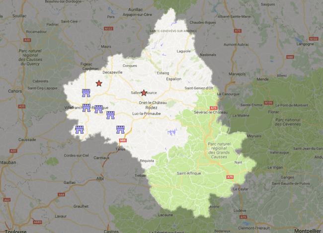 mapa bastidas de rouergue aveyron