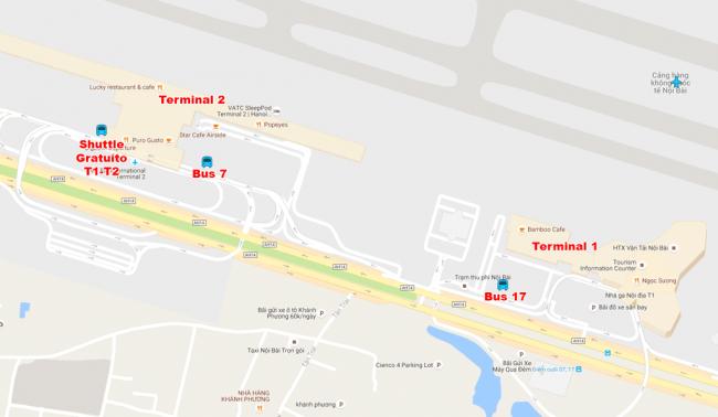 mapa traslados aeropuerto hanói