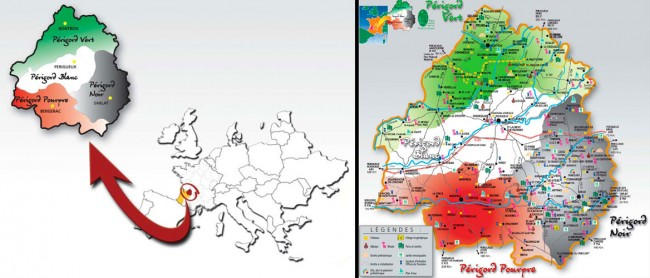 mapa perigord dordogne aquitania