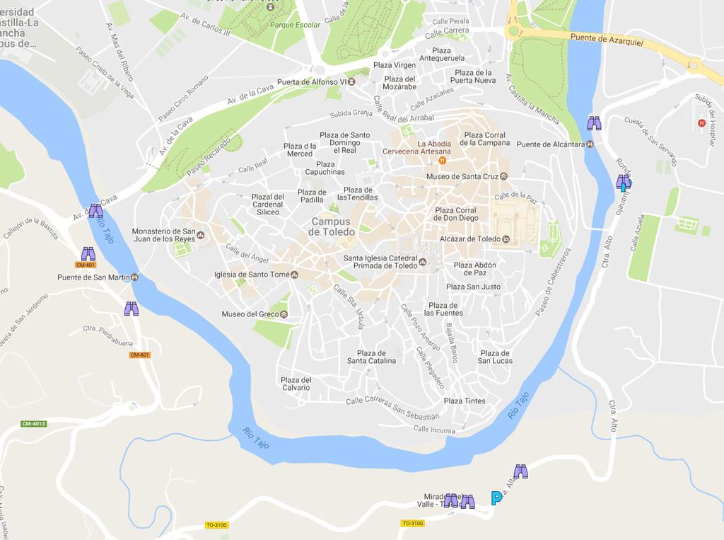 mapa ubicación miradores de toledo río tajo