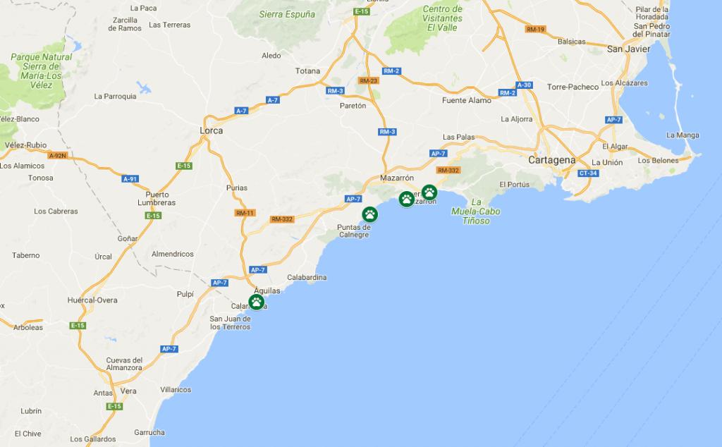 mapa playas que permiten perros en murcia