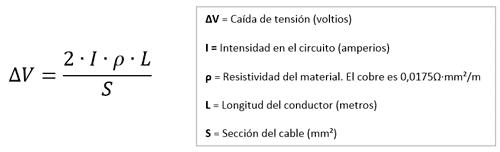fórmula caída tensión corriente contínua