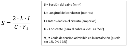 fórmula sección cable corriente contínua