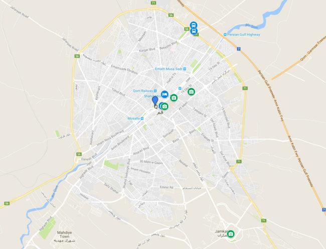 mapa qué hacer en qom irán