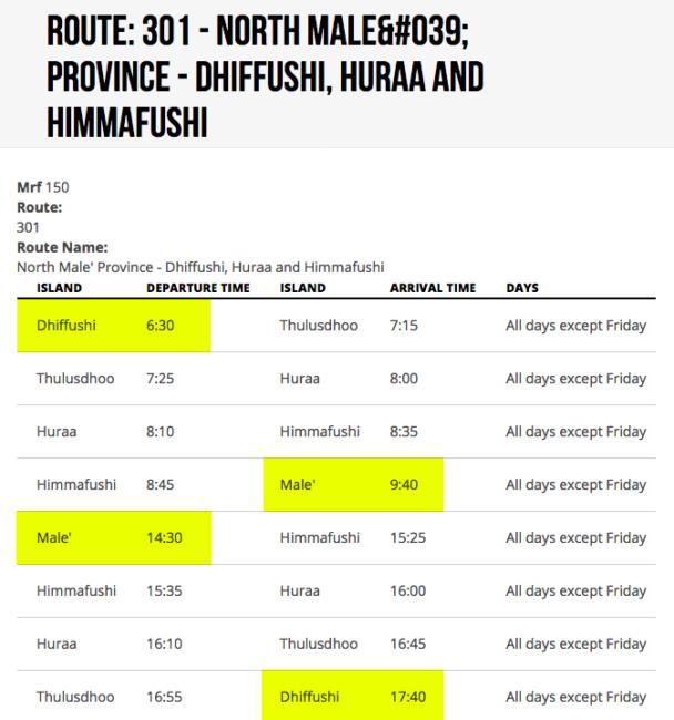 horarios ferry male dhiffushi maldivas