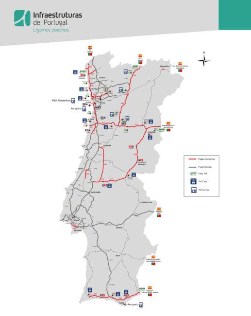 mapa peajes en portugal