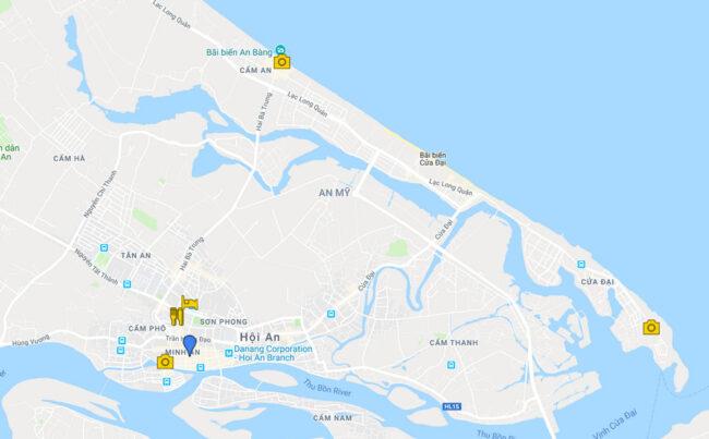 mapa qué ver en hoi an vietnam