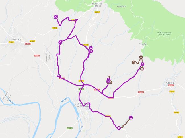 mapa ruta necrópolis en la rioja