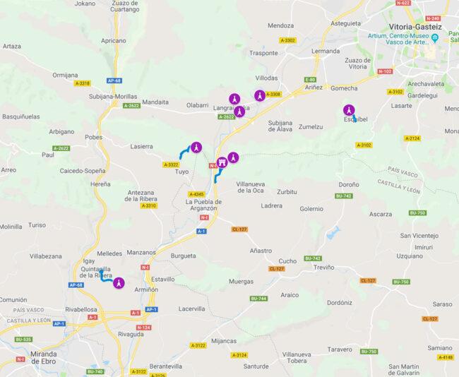 mapa telégrafos ópticos en álava