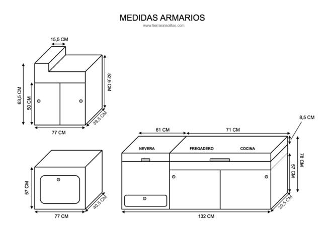 medidas armarios furgoneta camper mercedes viano compacta