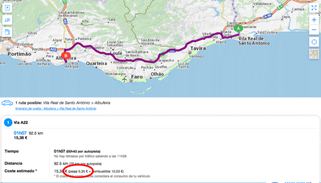 cálculo precio peajes portugal web viamichelin