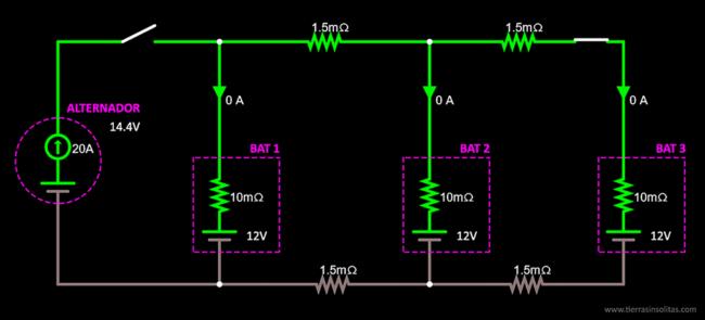 conexión baterías en paralelo ejemplo1