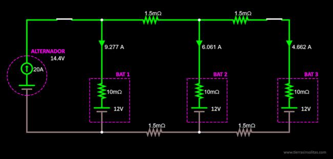 conexión baterías en paralelo ejemplo2