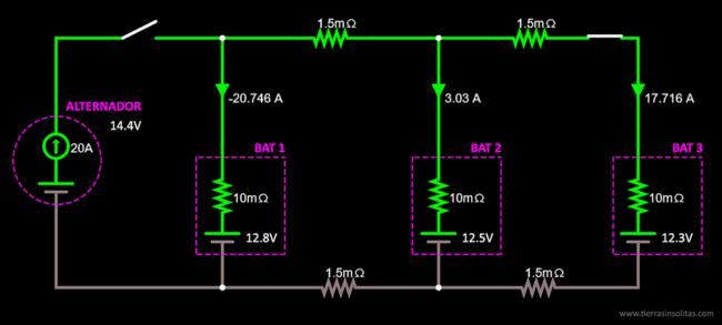 conexión baterías en paralelo ejemplo3