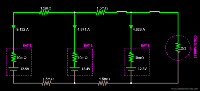 conexión baterías en paralelo ejemplo5