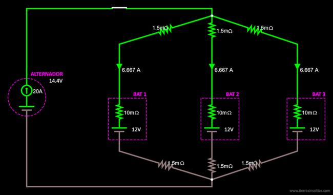 conexión baterías en paralelo solución12