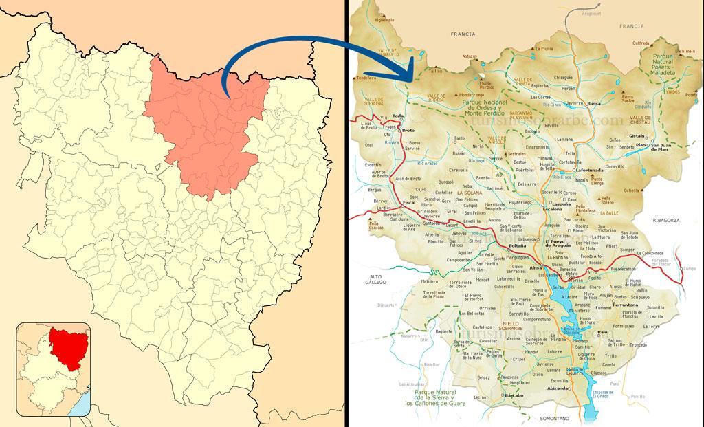 mapa qué ver comarca sobrarbe