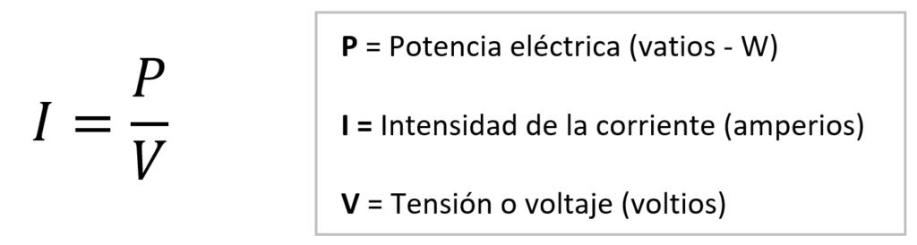 fórmula potencia corriente despejada