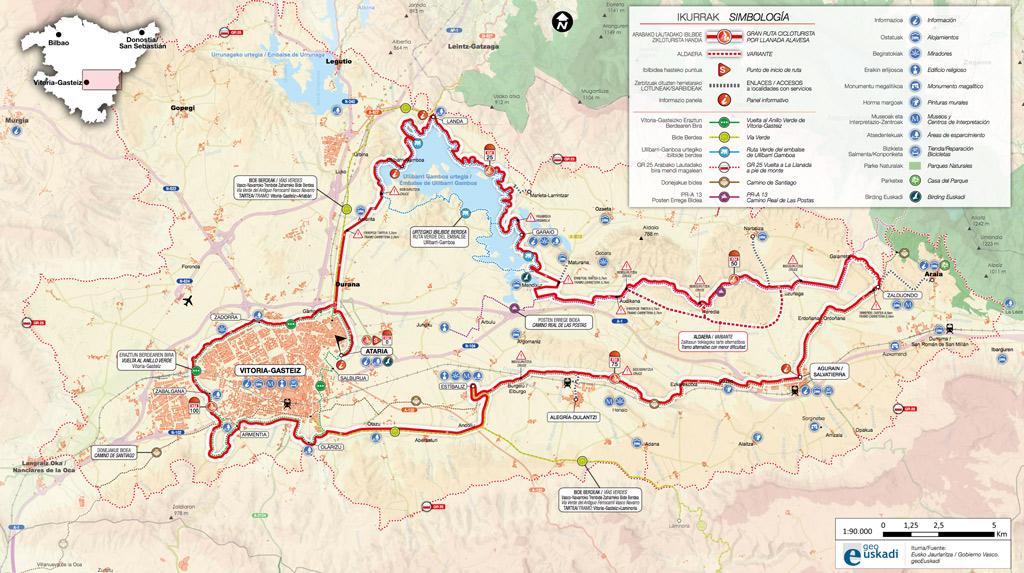 mapa gran ruta cicloturista llanada alavesa