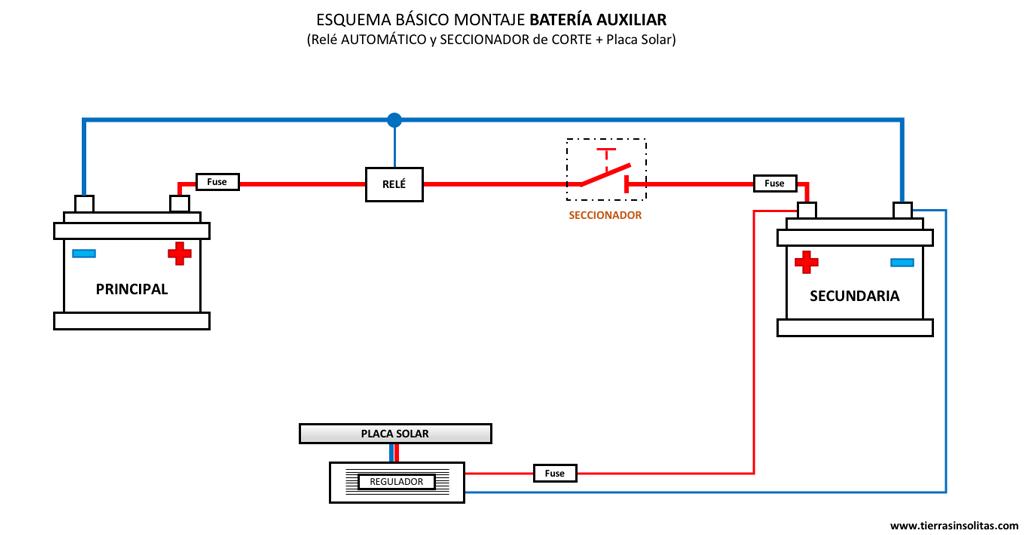 esquema batería auxiliar relé automatico