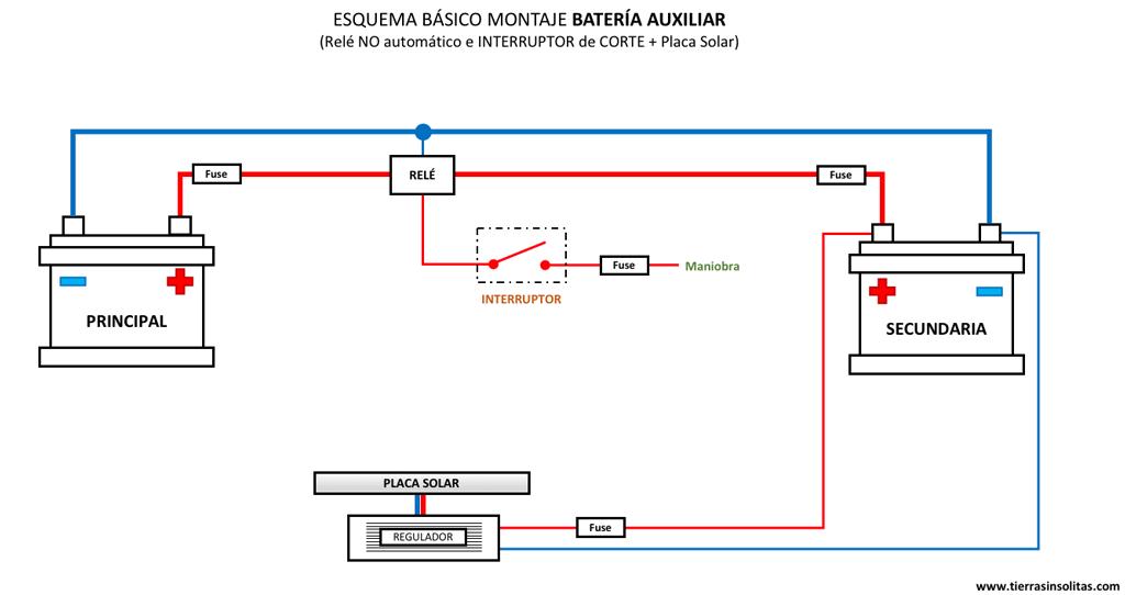 esquema batería auxiliar relé no automatico