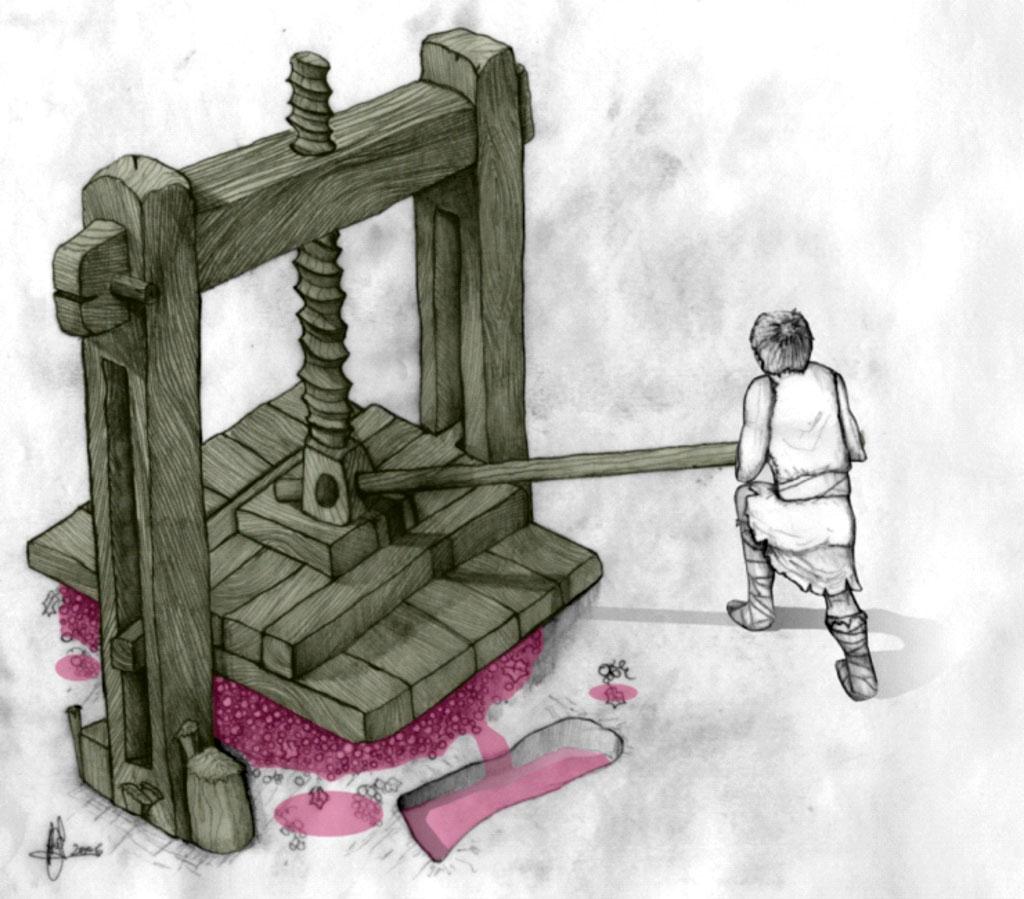 ilustración prensa vertical husillo
